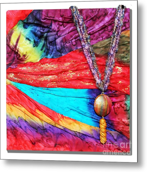 Silk Canvas With Necklace Metal Print