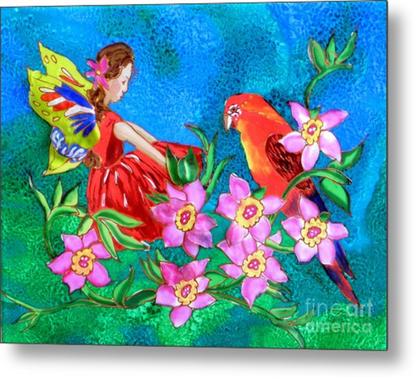 Silk Fairy And Parrot Metal Print