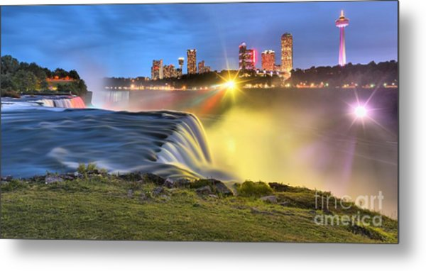 Silky Niagara Falls Panoramic Sunset Metal Print