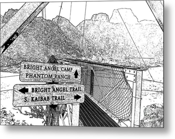 Silver Bridge Signs Over Colorado River At Bottom Of Grand Canyon National Park Bw Stamp Digital Art Metal Print