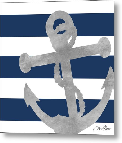 Silver Coastal On Blue Stripe I Metal Print