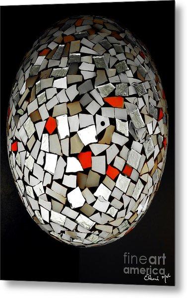 Metal Print featuring the digital art Silver Egg by Eleni Mac Synodinos