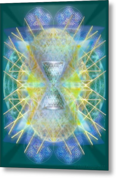 Silver Torquoise Bright Chali-cell-ring Flower Of Life Matrix Metal Print