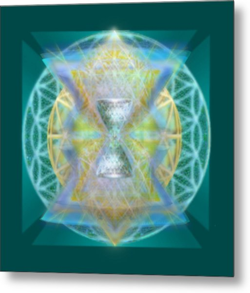 Silver Torquoise Chalice Matrix II Subtly Lavender Lit On Gold N Blue N Green With Teal Metal Print