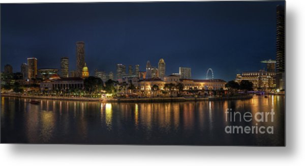Singapore By Night Metal Print