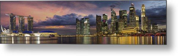 Singapore City Skyline At Sunset Panorama Metal Print