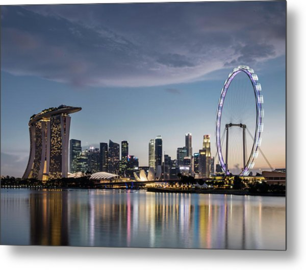 Singapore Skyline At Dusk Metal Print by Martin Puddy