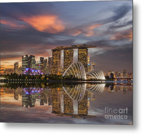 Singapore Skyline Beautiful Sunset Metal Print