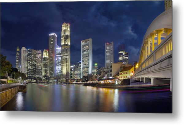 Singapore Skyline From Boat Quay Metal Print