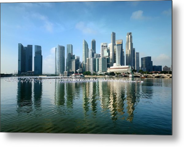 Singapore Skyline On A Blue Sunny Day Metal Print by Carlina Teteris