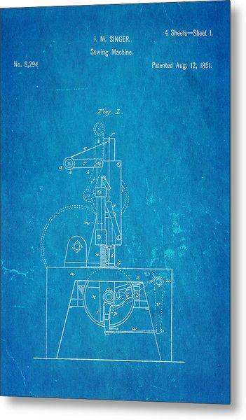 Singer Sewing Machine Patent Art 1851 Blueprint Metal Print