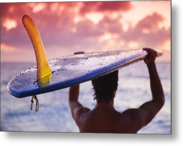 Single Fin Surfer Metal Print