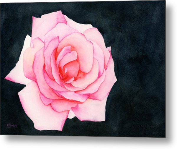 Metal Print featuring the painting Single Rose by Ken Powers