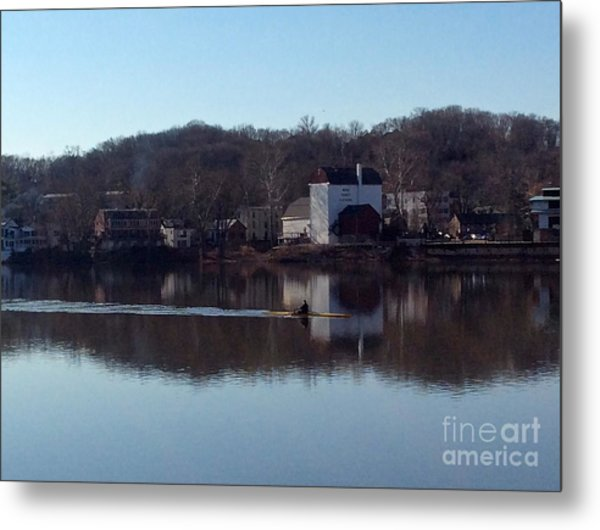 Single Scull On The Delaware Metal Print