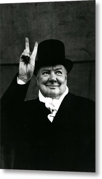 Sir Winston Churchill Peace Sign Metal Print