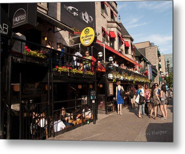 Sir Winston Churchill Pub On Rue De Crescent In Montreal Metal Print