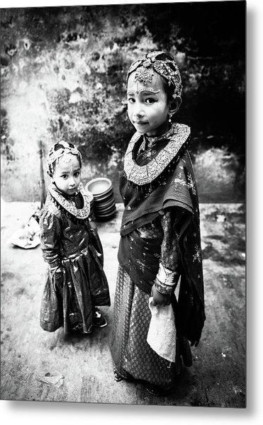 Sisters In Nepal Metal Print by Toru Matsunaga
