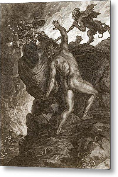 Sisyphus Pushing His Stone Metal Print