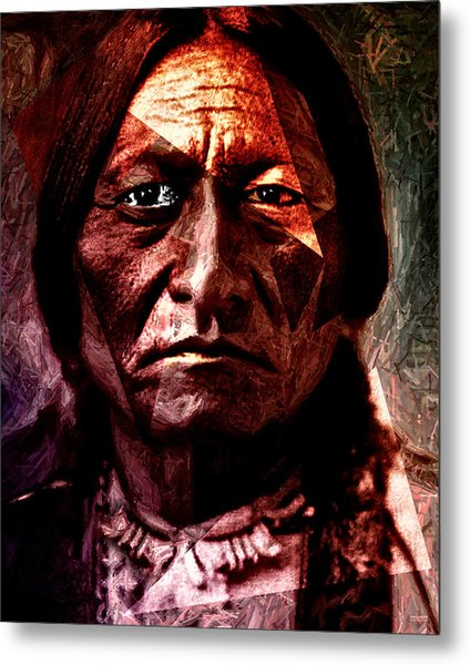 Metal Print featuring the painting Sitting Bull - Warrior - Medicine Man by Hartmut Jager