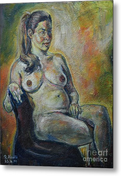 Sitting Nude Metal Print