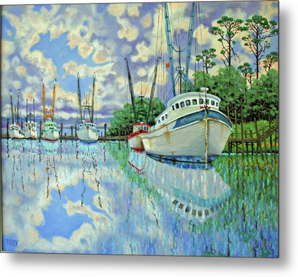 Six Shrimp Boats In Off Season Metal Print by Dwain Ray