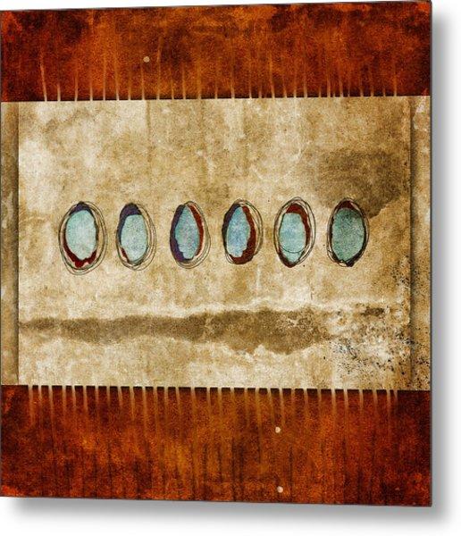 Six Turquoise Moons Metal Print