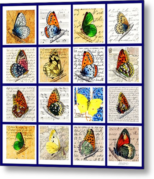 Metal Print featuring the painting Sixteen Butterflies by Marian Cates