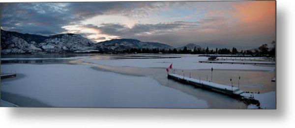 Skaha Lake Sunset Panorama 02-27-2014 Metal Print