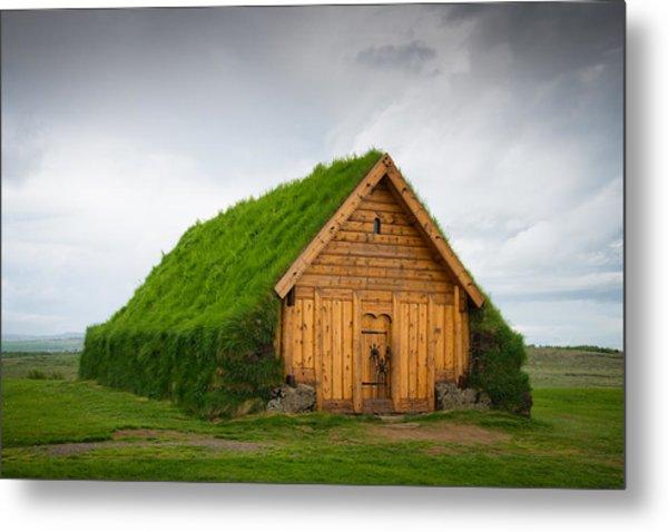 Skalholt Iceland Grass Roof Metal Print