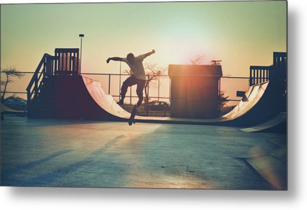Skateboarder Jumping Metal Print by Fran Polito