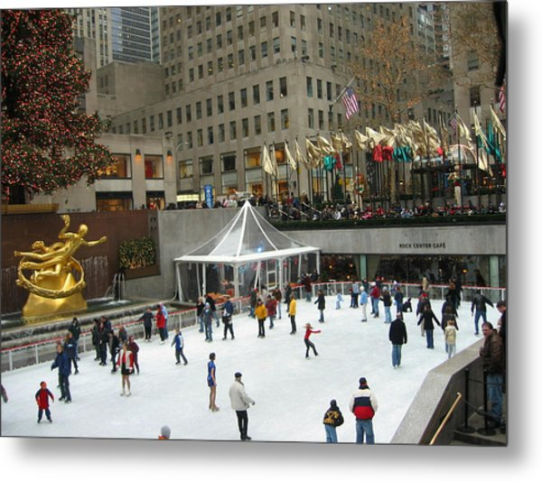 Skating In Rockefeller Center Metal Print