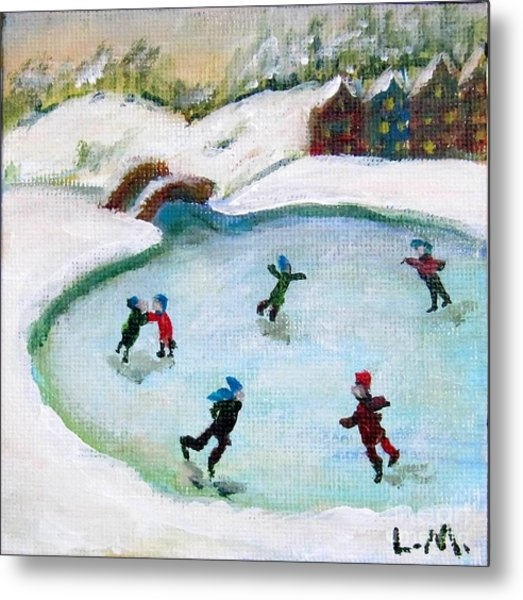 Skating Pond Metal Print