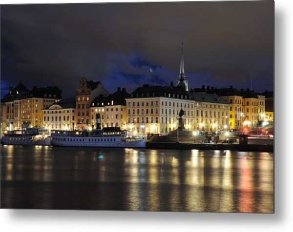 Skeppsbron At Night Metal Print
