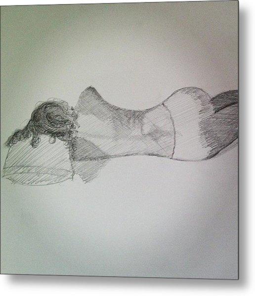 #sketch #drawing #female #figure Study Metal Print