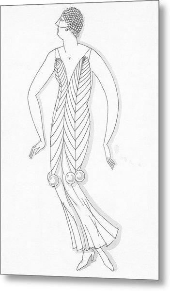 Sketch Of A Woman Wearing White Mistletoe Costume Metal Print by Robert E. Locher