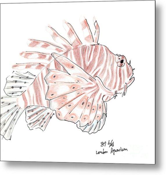 Sketch Of Lion Fish At London Aquarium Metal Print
