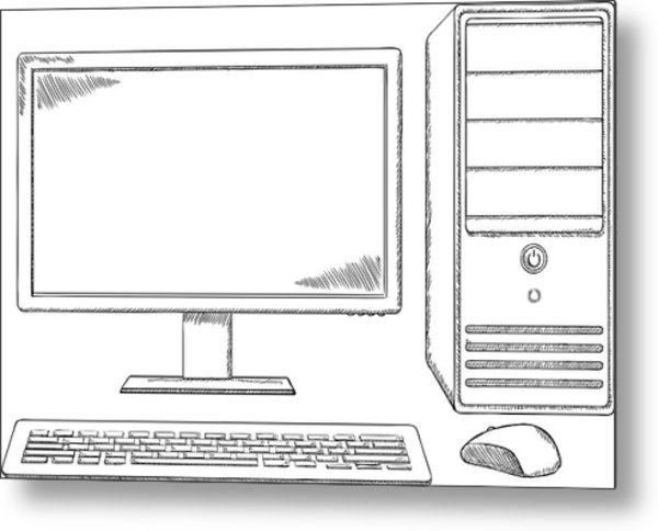 Sketch Style Desktop Computer Monitor Keyboard And Mouse by GaleartStudio
