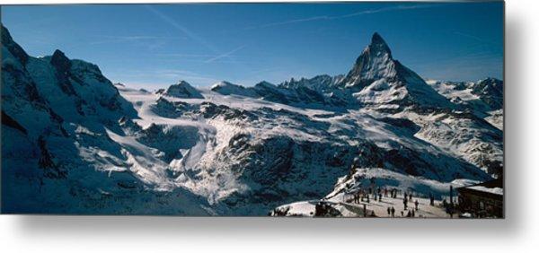 Skiers On Mountains In Winter Metal Print