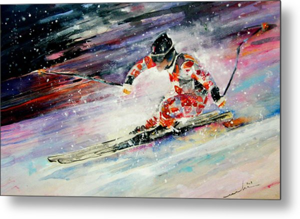 Skiing 01 Metal Print