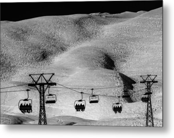 Skiing In Space Metal Print by Justin Albrecht