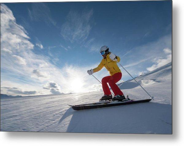 Skiing Winter Sport Metal Print