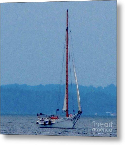 Skipjack Mast Lowering On The Bay Metal Print by Debbie Nester