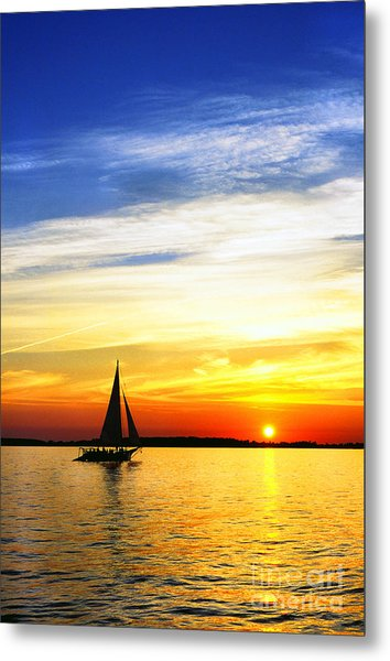 Skipjack Under Full Sail At Sunset Metal Print