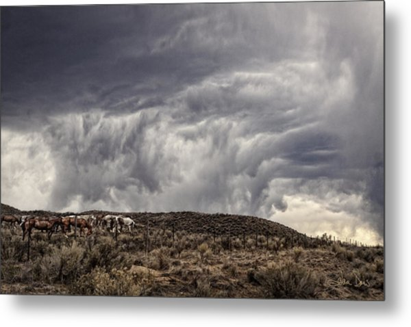 Skirting The Storm Metal Print