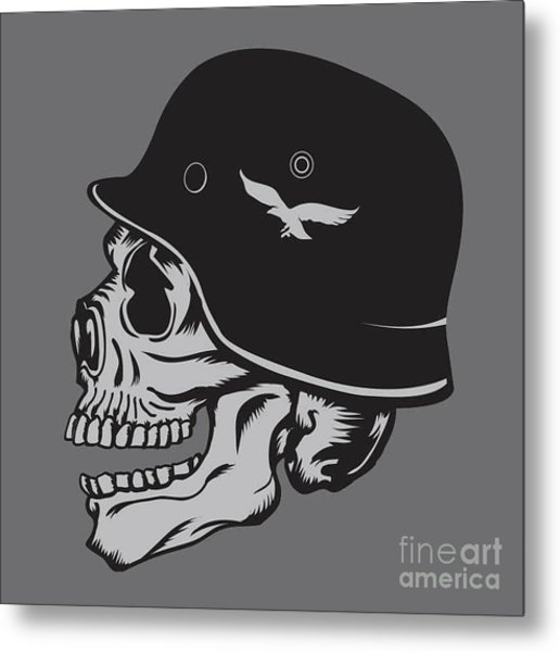 Skull Army Helmet Illustration Metal Print