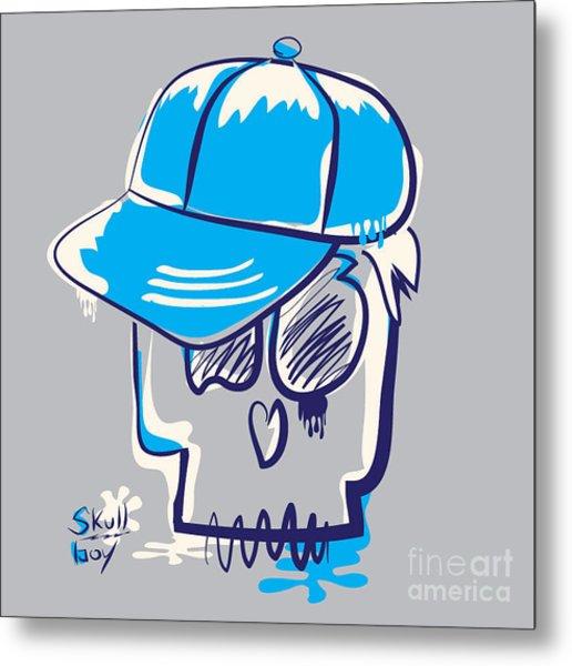 Skull Boy Illustration, Typography Metal Print
