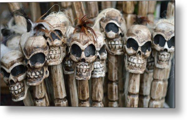 Skull Sticks Metal Print