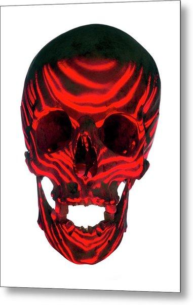 Skull Warning Metal Print
