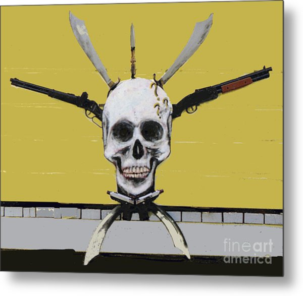 Skull With Guns Metal Print