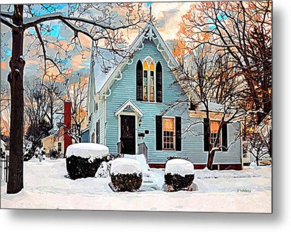 Sky Blue Gingerbread House  Metal Print by Dorothy Walker